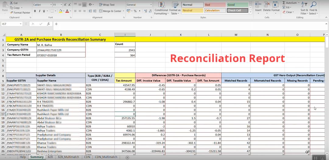 GSTR 2a reconciliation report