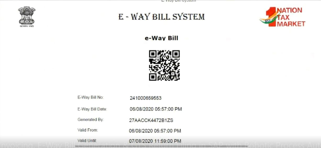 e way bill in sap
