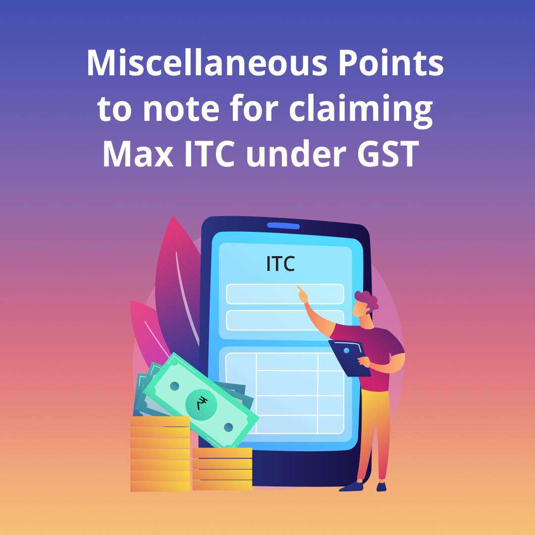 inout tax credit under GST
